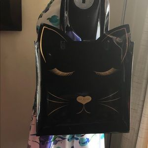 Ted Baker black patent tote cat face spring